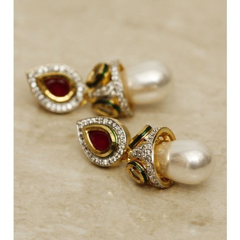Pearl Drop Gold Plated Earrings (100000061523)