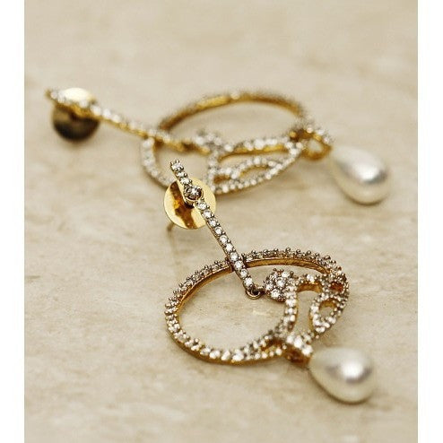 Pearl Drop Gold Plated Earrings (100000061535)