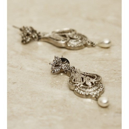 Silver Stone Embellished Pearl Drop Earrings
