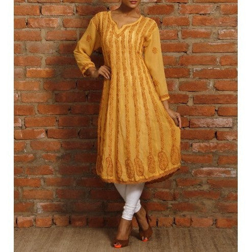 Indofash - Yellow Georgette Anarkali Kurta with Chikankari