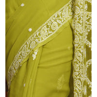 Green Chiffon Saree With Chikankari - rang