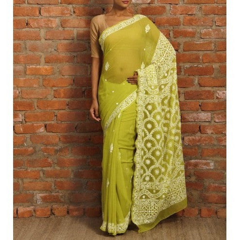 Green Chiffon Saree With Chikankari