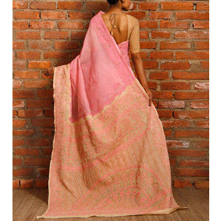 Pink & Brown Cotton Saree with Chikankari