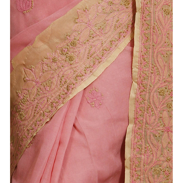 Pink & Brown Cotton Saree with Chikankari - rang