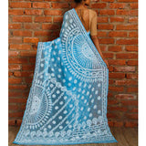 Sky Blue Chiffon Saree with Chikankari - rang