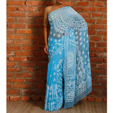 Sky Blue Chiffon Saree with Chikankari