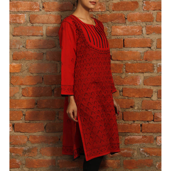 Red & Black Cotton Kurta with Chikankari