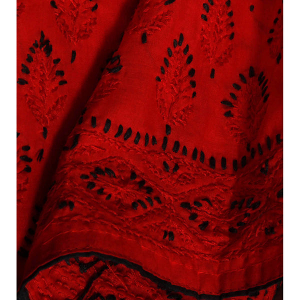 Red & Black Cotton Kurta with Chikankari - rang