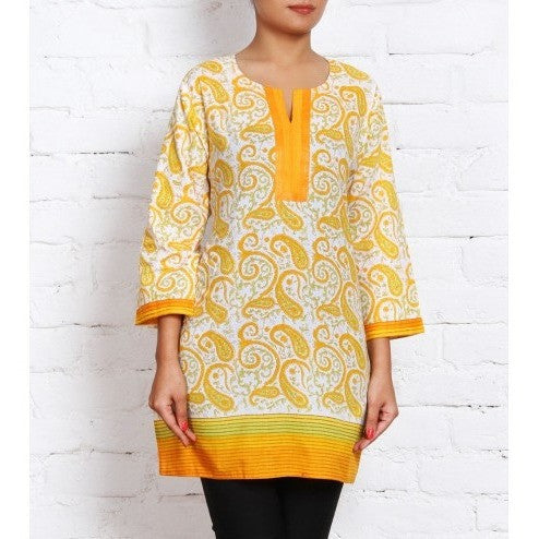 Yellow & White Printed Cambric Kurti