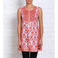 Orange & Pink Printed Cambric Kurti (100000034332) - rang