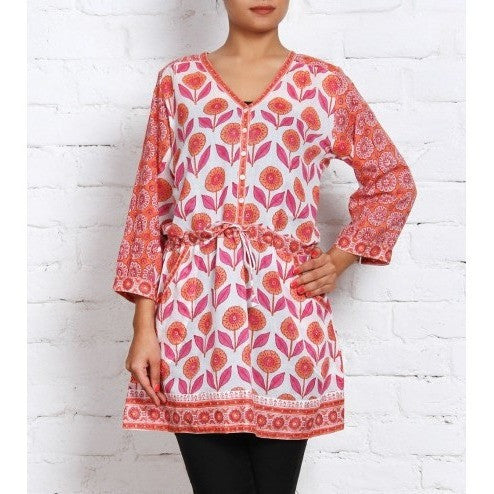 Orange & Pink Printed Cambric Kurti - rang