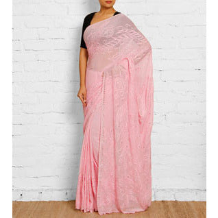 Pink Georgette Saree with Chikankari (100000035317)