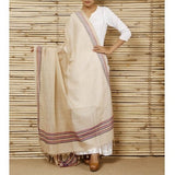 Cream Mangalgiri Cotton Dupatta - rang