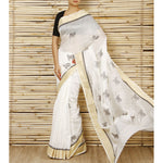 White Chanderi Cotton Silk Saree with Zari Work