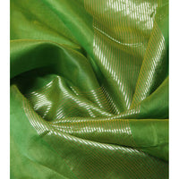 Green Chanderi Cotton Silk Saree with Zari Work - rang