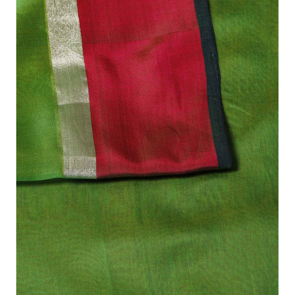 Green Chanderi Cotton Silk Saree with Zari Work