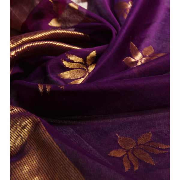 Purple Chanderi Cotton Silk Saree with Zari Work