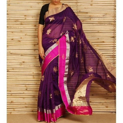 Purple Chanderi Cotton Silk Saree with Zari Work - rang