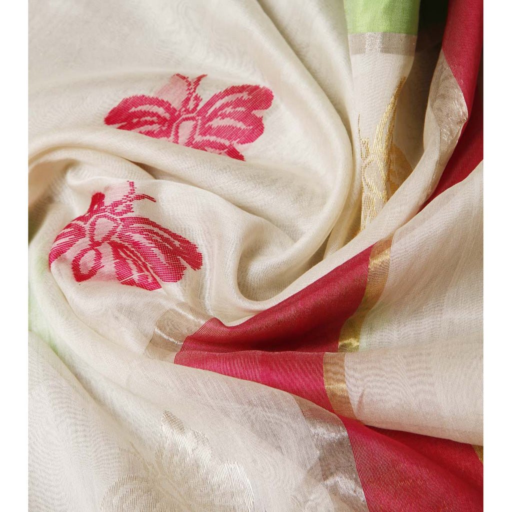 White Chanderi Cotton Silk Saree with Zari Works