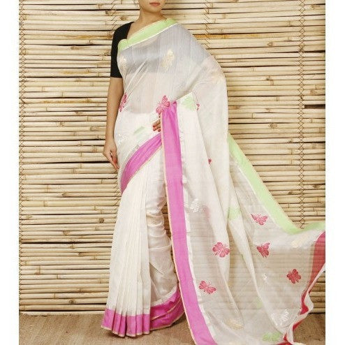 White Chanderi Cotton Silk Saree with Zari Works - rang