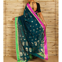 Teal Chanderi Cotton Silk Saree with Zari Work