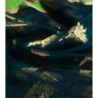 Teal Chanderi Cotton Silk Saree with Zari Work - rang