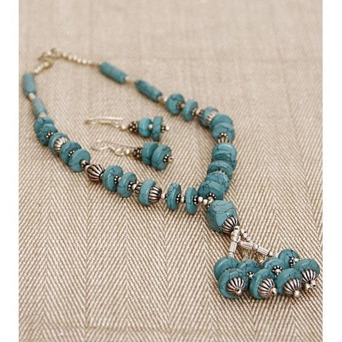 Sea Green German Silver Necklace Set (100000061549)