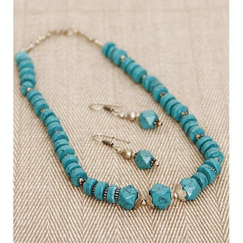 Sea Green German Silver Necklace Set (100000061550)