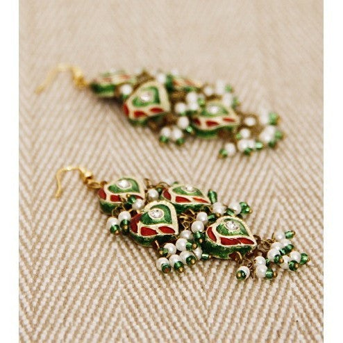 Green and Red Earrings with Lakh Work (100000061595)