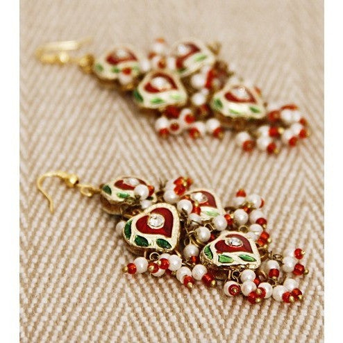 Green and Red Earrings with Lakh Work (100000061596) - rang