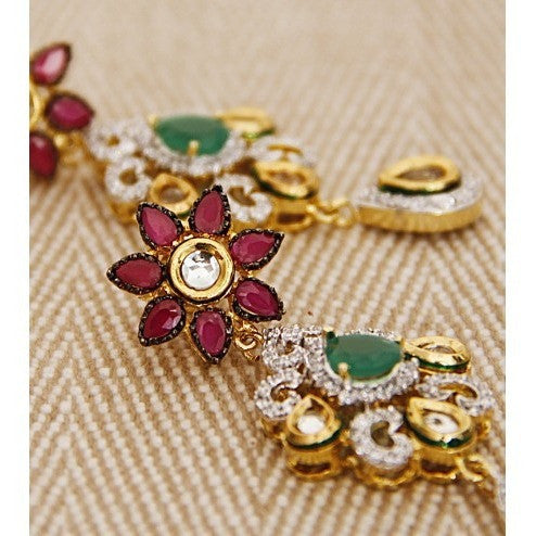 Multicoloured Stone Embellished Dangler Earrings (100000061552) - rang