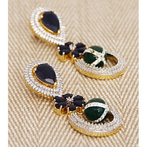 Multicoloured Stone Embellished Dangler Earrings (100000061553) - rang