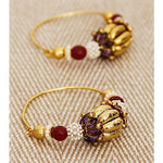 Golden & Ruby Embellished Earrings - rang