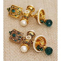 Green Stone Embellished Earrings - rang