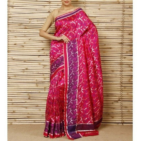 Magenta Silk Phool Meena Jaal Chanderi Saree