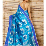 Turquoise Silk Big Flower Booti Chanderi Saree - rang