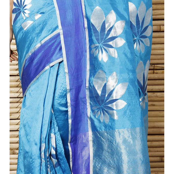 Turquoise Silk Big Flower Booti Chanderi Saree