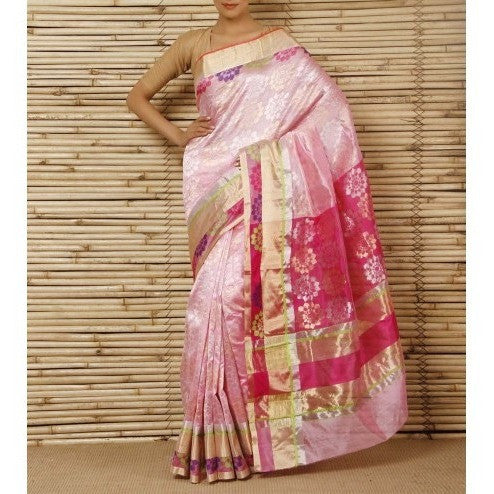 Pink Silk Phool Zari Jaal Chanderi Saree