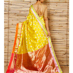 Yellow Silk Zari Jaal Chanderi Saree