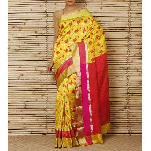 Yellow Silk Phool Meena Jaal Chanderi Saree - rang