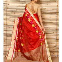 Red Silk Zari Stripes And Border & Skirt Pattern Chanderi Saree - rang