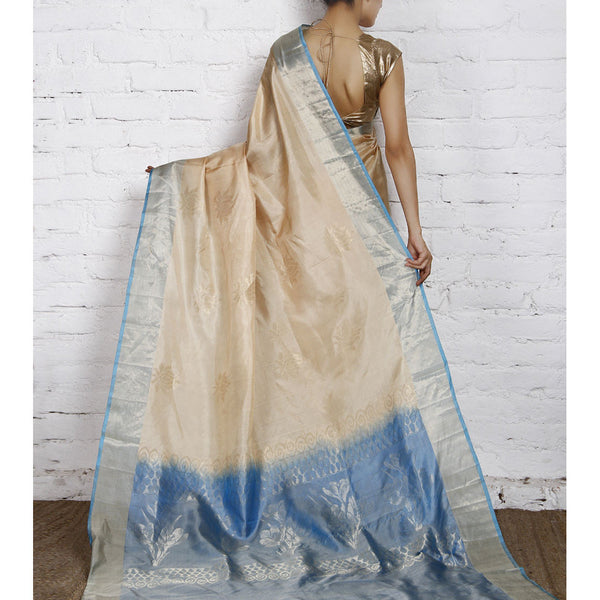 Handwoven Cream and Blue Silk Saree - rang