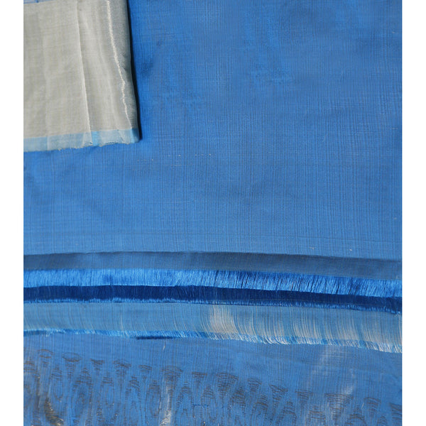 Handwoven Cream and Blue Silk Saree