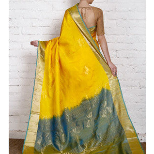 Handwoven Yellow and Blue Silk Saree