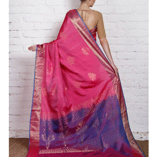 Handwoven Pink and Blue Silk Saree - rang
