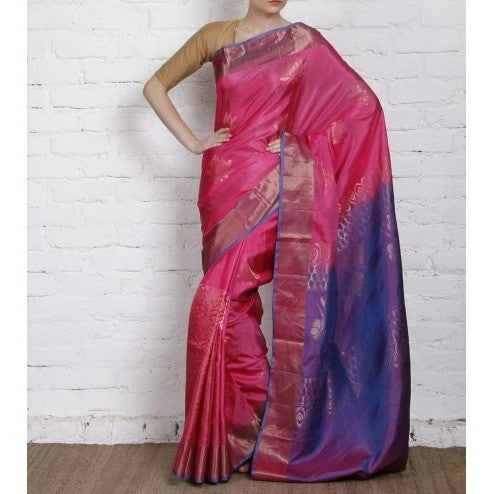 Handwoven Pink and Blue Silk Saree