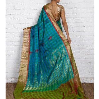 Handwoven Green and Blue Kora Silk Saree