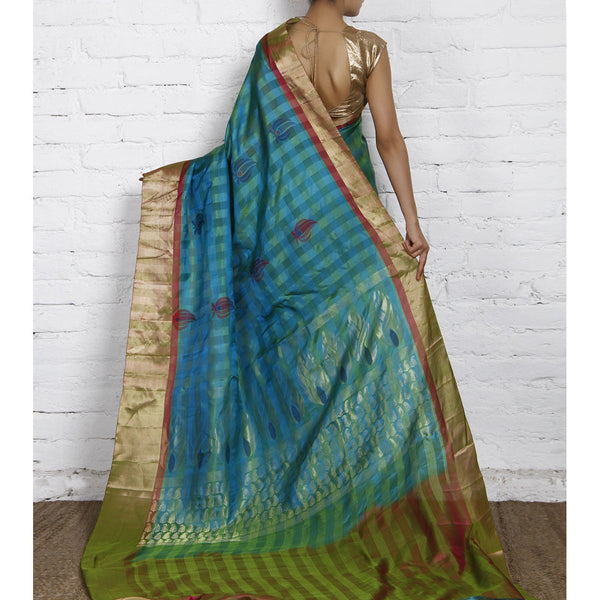 Handwoven Green and Blue Kora Silk Saree - rang