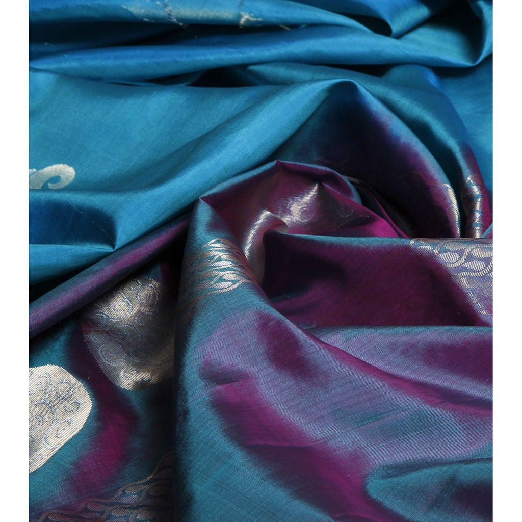 Handwoven Blue Pure Silk Saree
