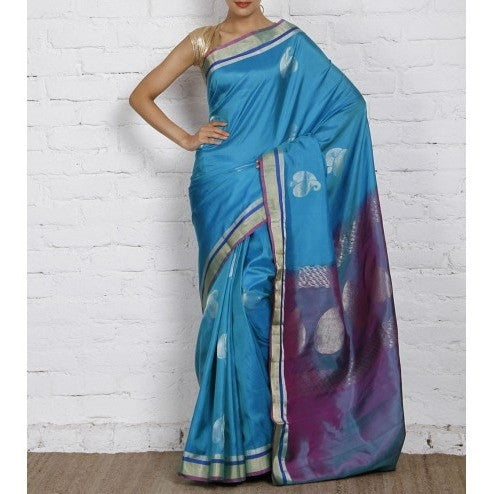 Handwoven Blue Pure Silk Saree - rang
